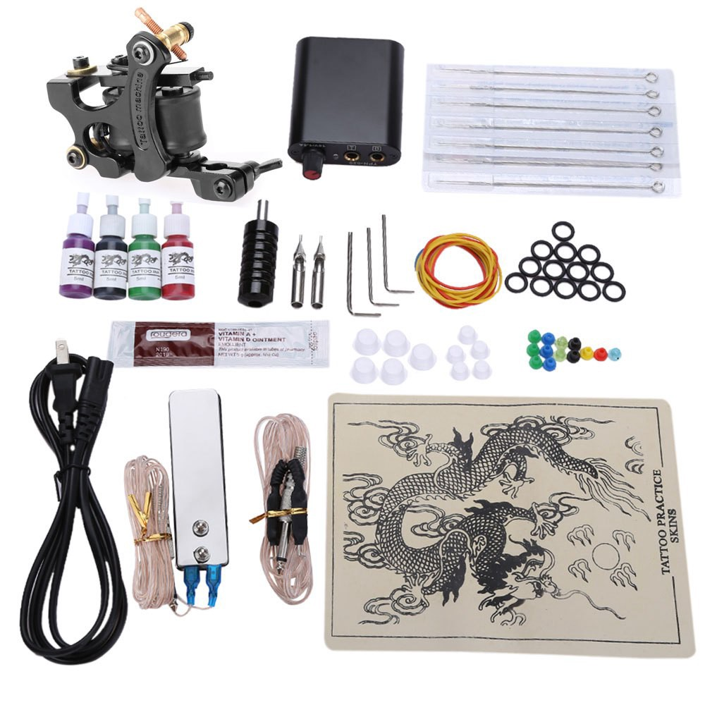 Complete Tattoo Kits 8 Wrap Coils Guns Machine 4 Color Inks