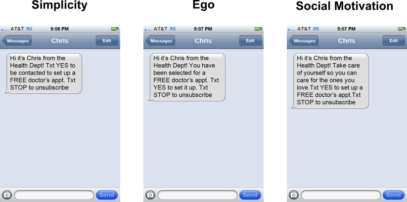 How can text messages encourage people to see a doctor?