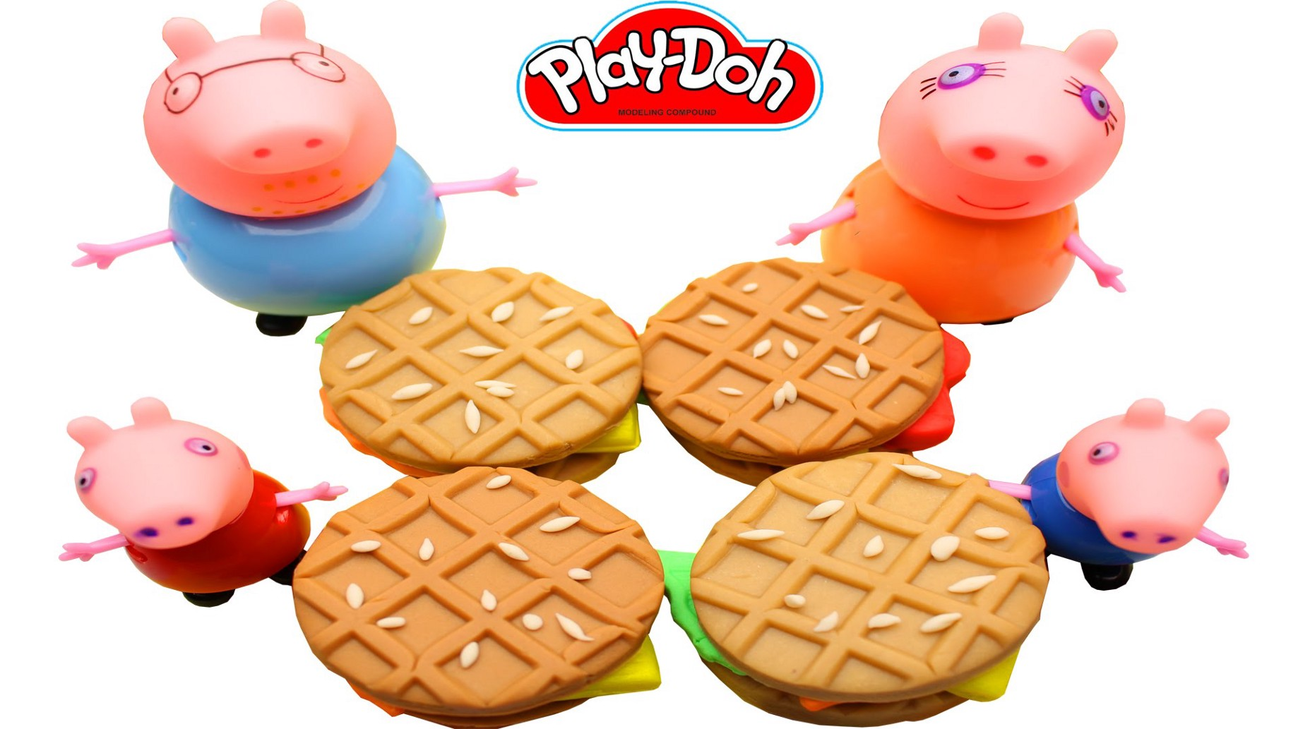 Play Doh Breakfast Waffle Fruit Filling For Family Peppa Pig Youtube