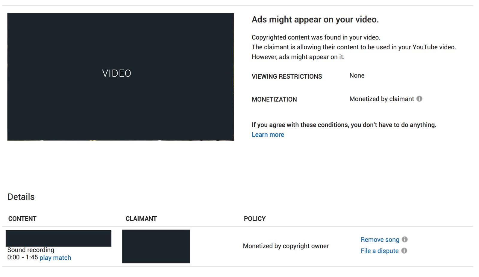 So you just received a copyright claim on your YouTube video