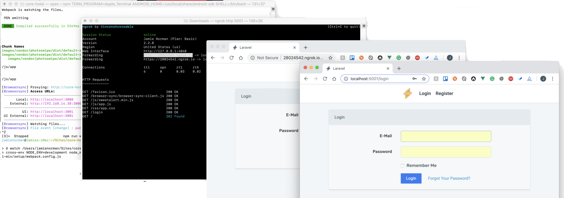 Laravel Mix, Browersync and ngrok playing happily…