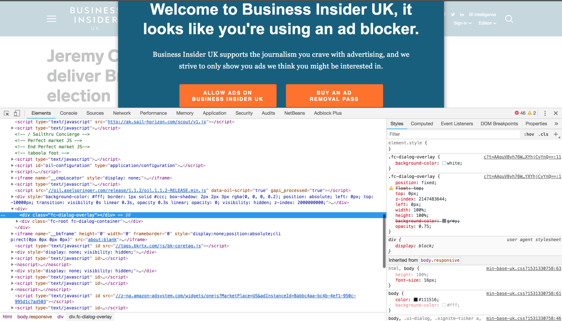 How to bypass ad-blocker popup in Business Insider and any other website