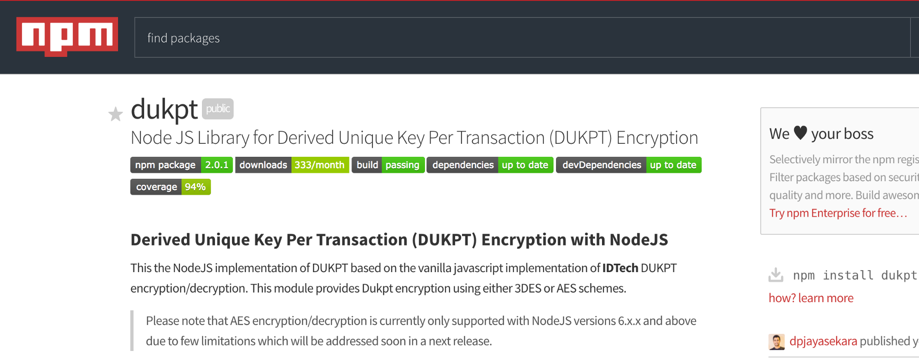 Node DUKPT v2 0 0 Released with AES Encryption Support