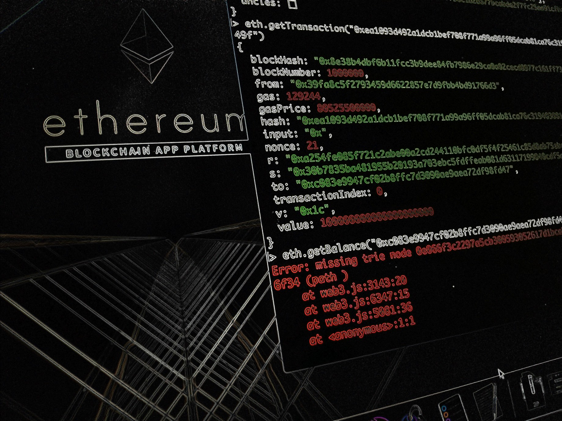 How to interact with the Ethereum blockchain and create a database