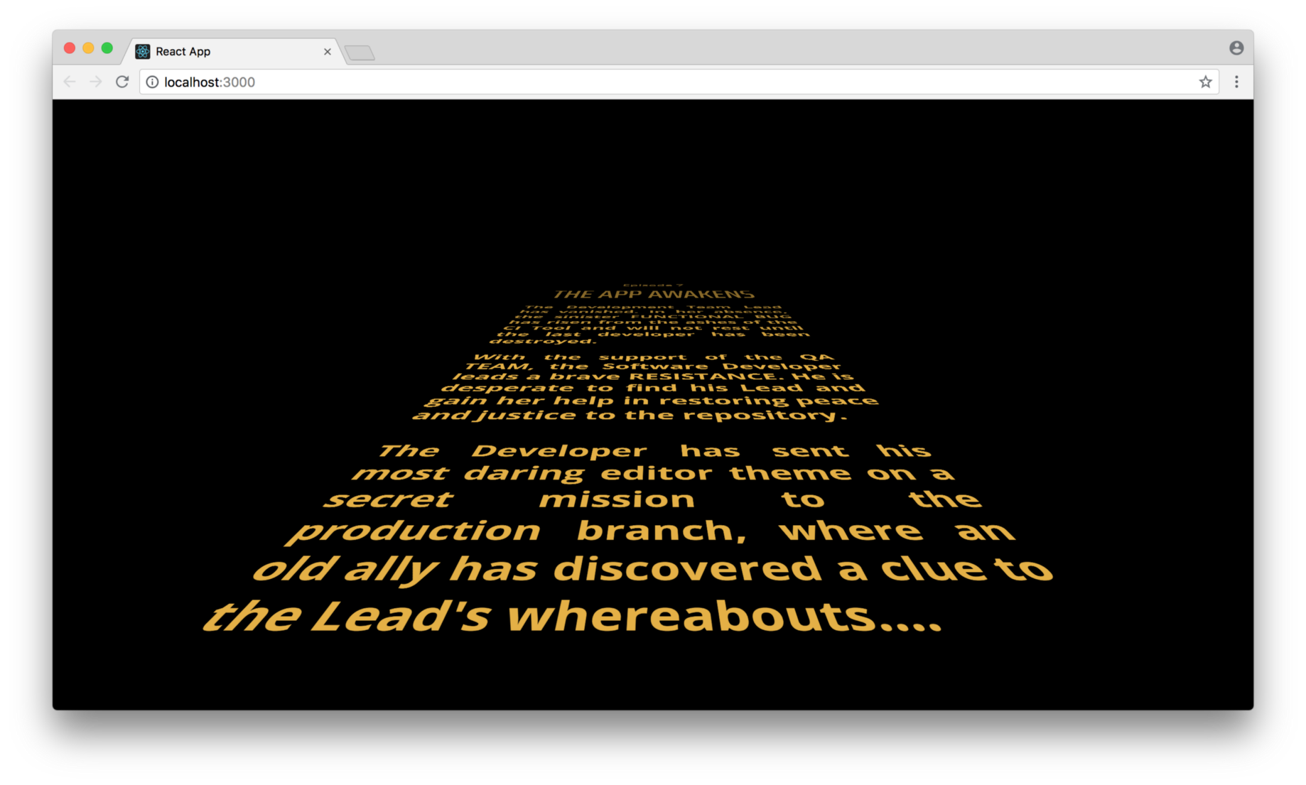 Tutorial: Animate the Opening Star Wars Crawl in a React App with