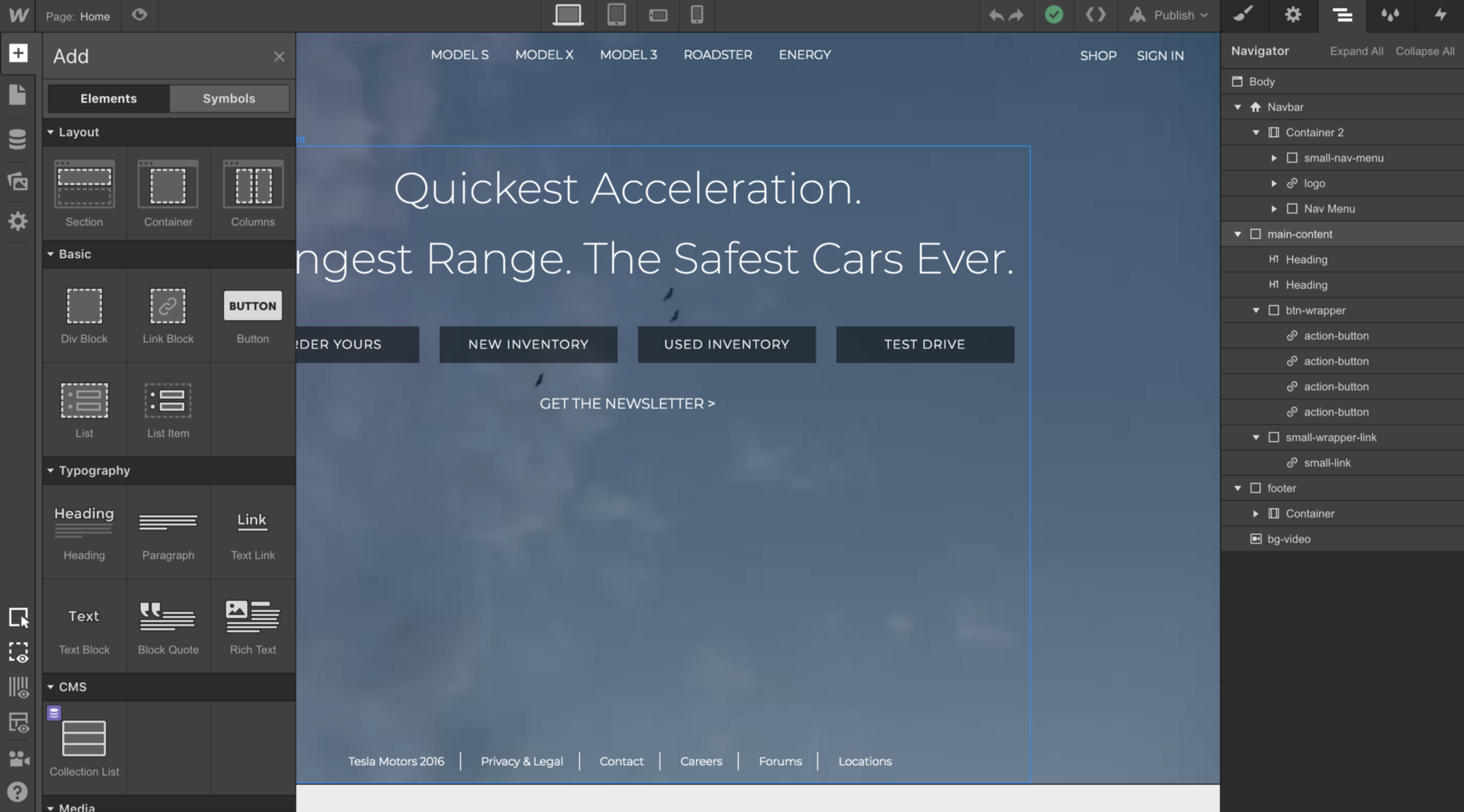 How to build the 2018 Tesla Landing Page with Webflow and Vue JS
