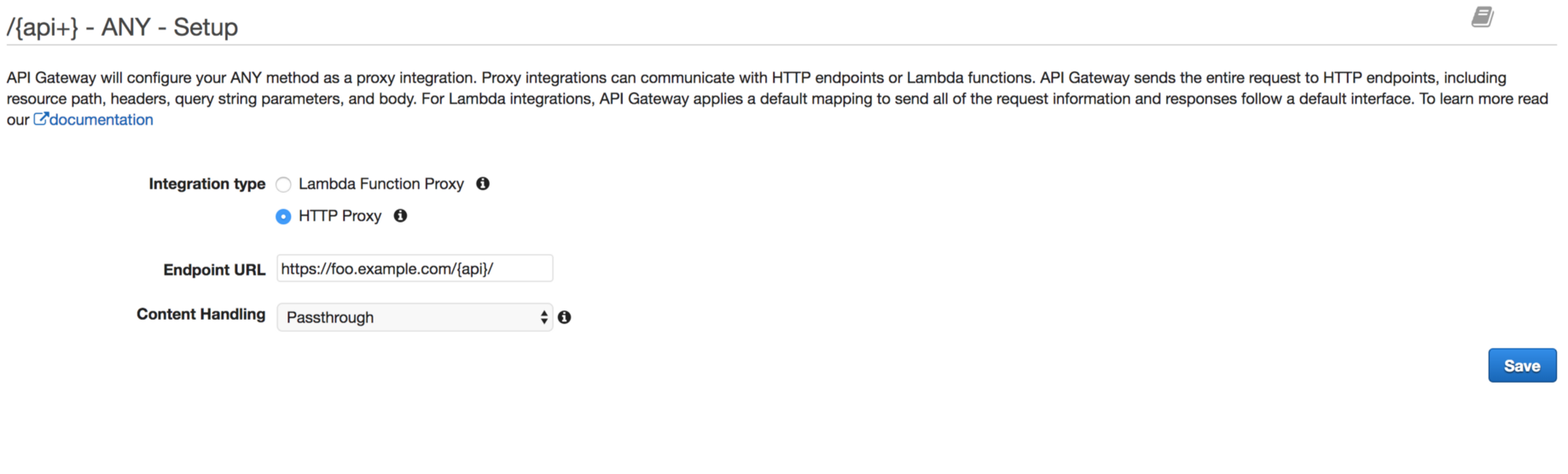 How to setup HTTP Proxy Passthrough on API Gateway — Console