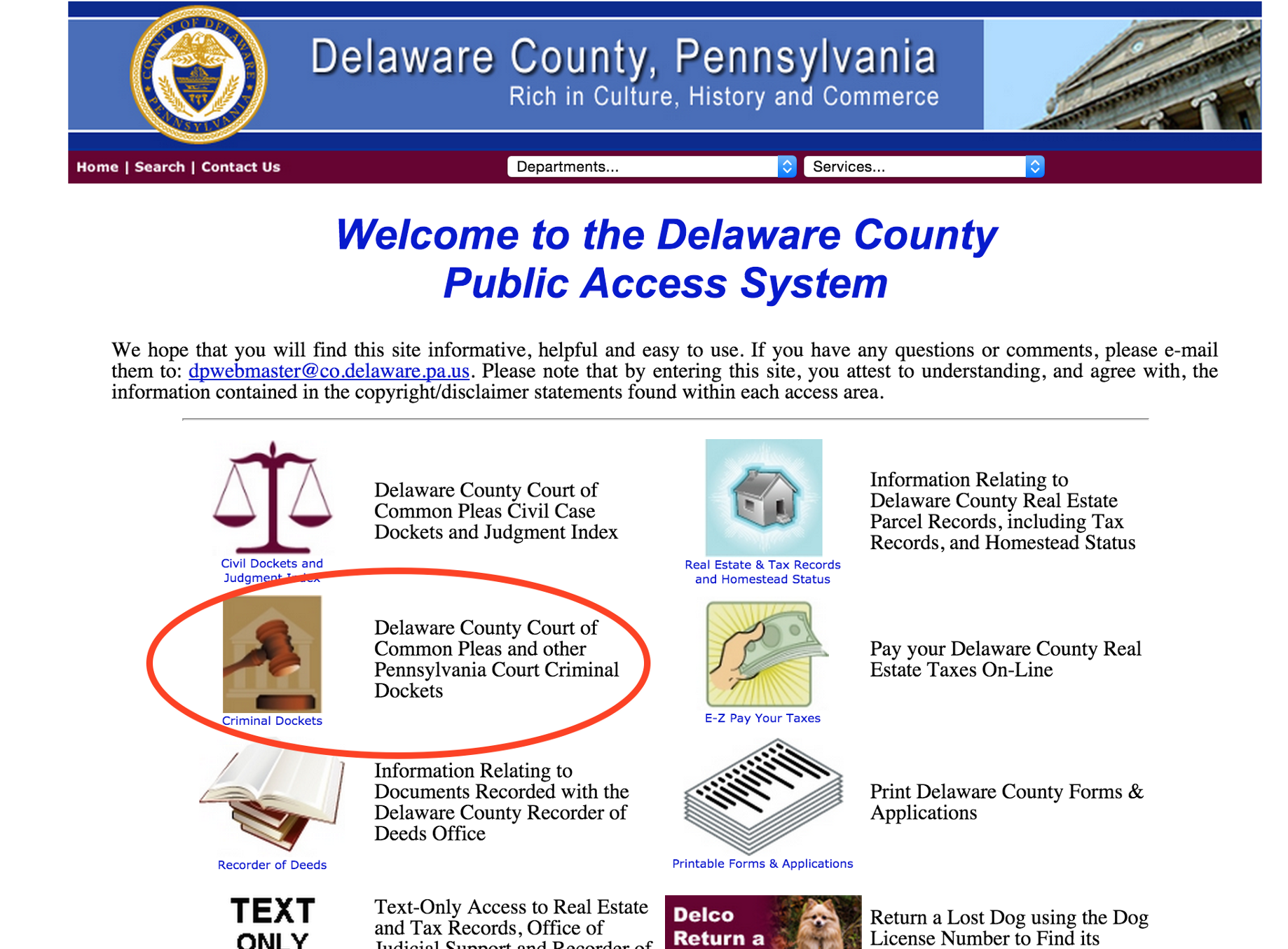 How to pre-screen tenants using the Delaware County Public Access System