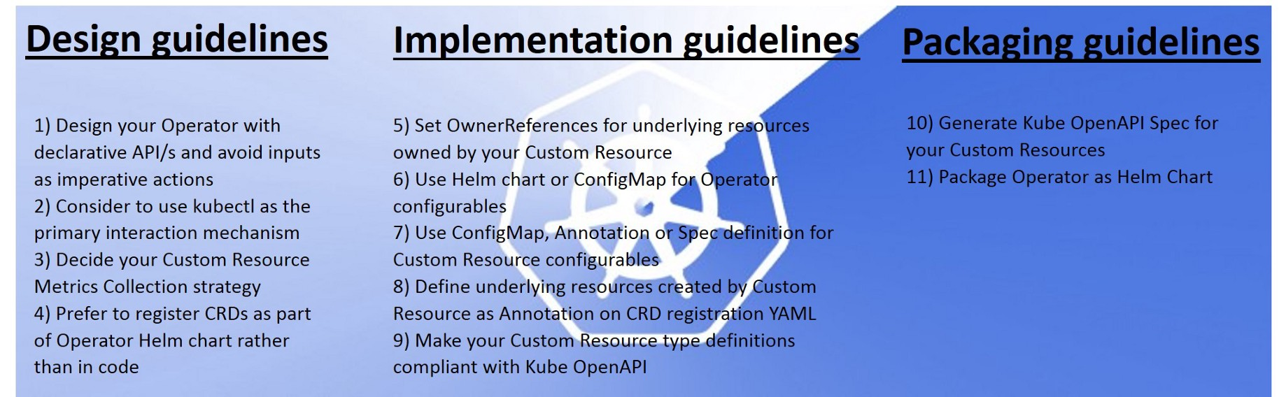 Kubernetes Operator Development Guidelines for improved Usability