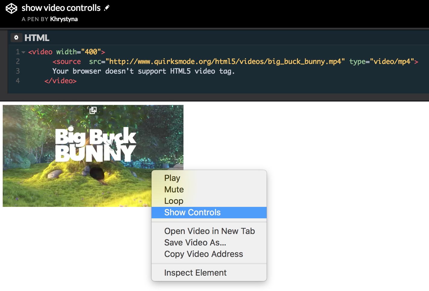 Using context menu to show video controls and manipulate video playback