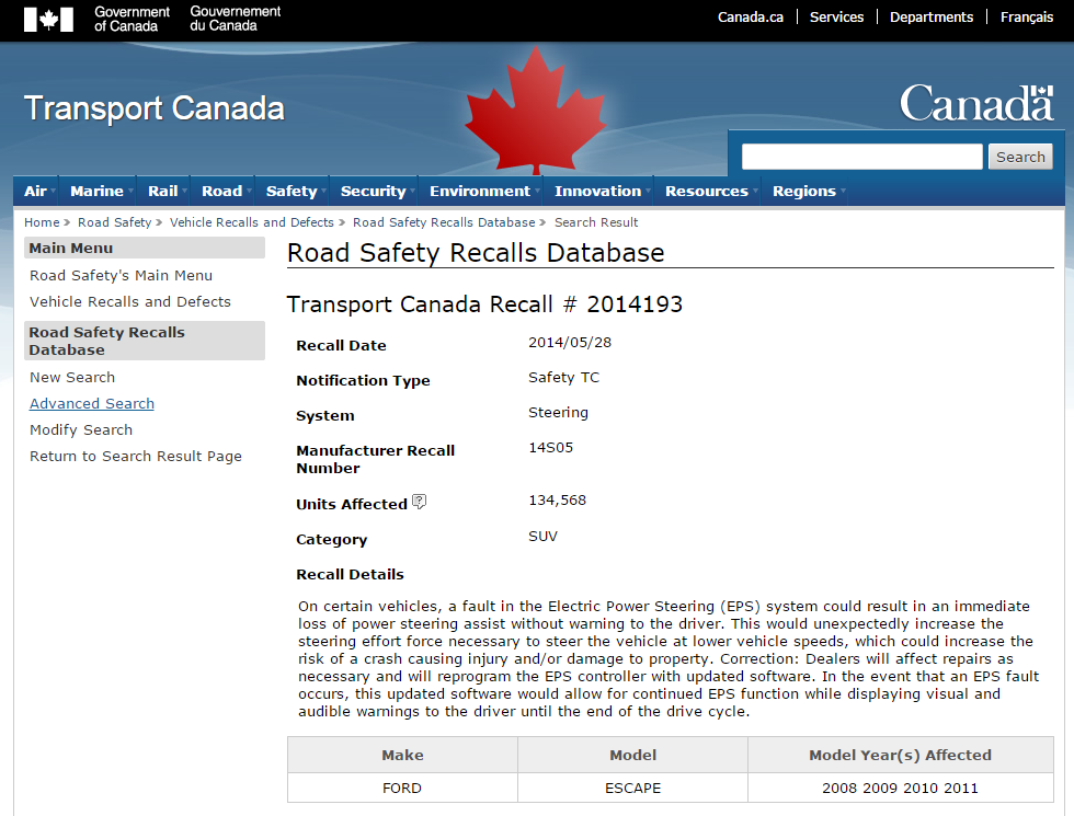 A Ford Escape Recall Gotcha — Recall 14S05, Transport Canada #201413