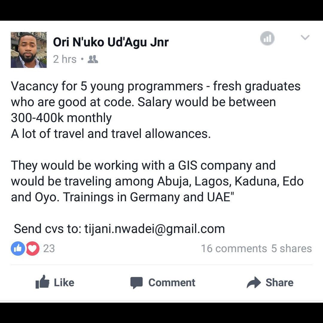 A GIS Company needs 5 young programmers - Startups & Venture Capital