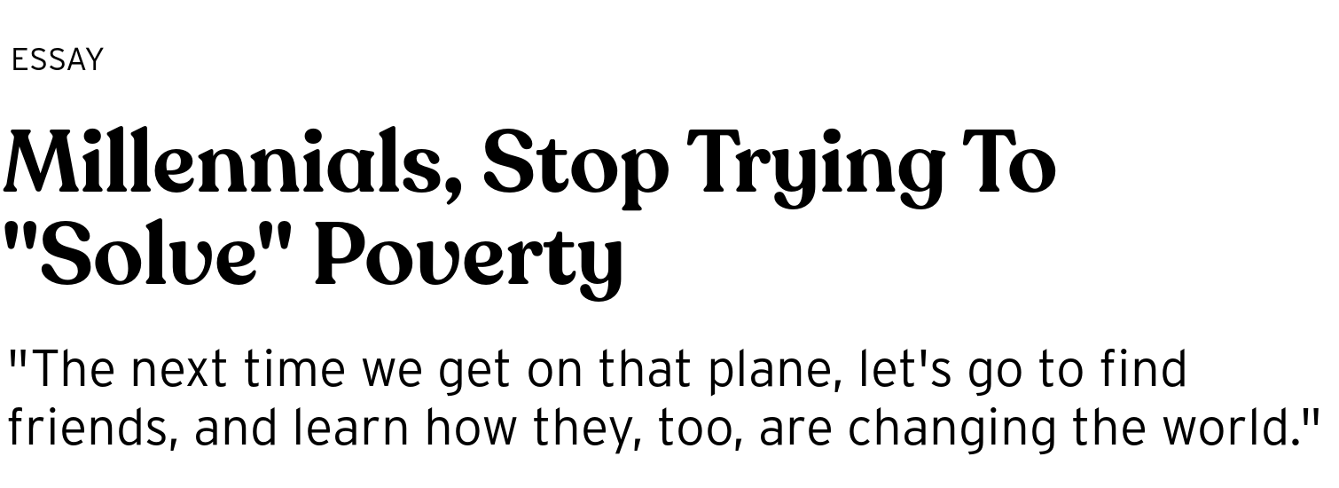 millennials stop trying to solve poverty   bright magazine