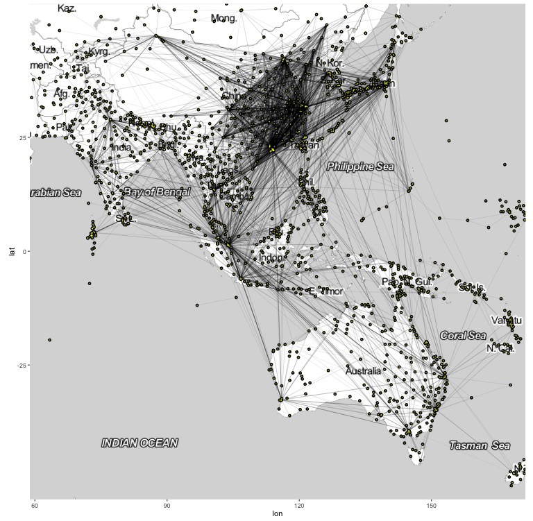 Visualisation of airport connectivities in R using ggmap/ggplot/igraph