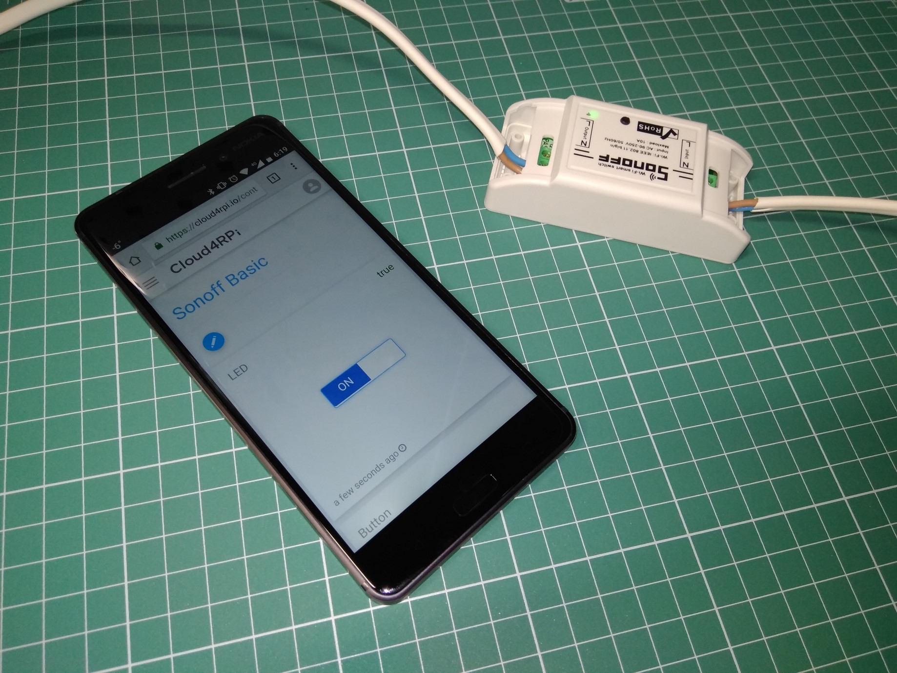 How to control Sonoff Basic using Cloud4RPi and a smartphone