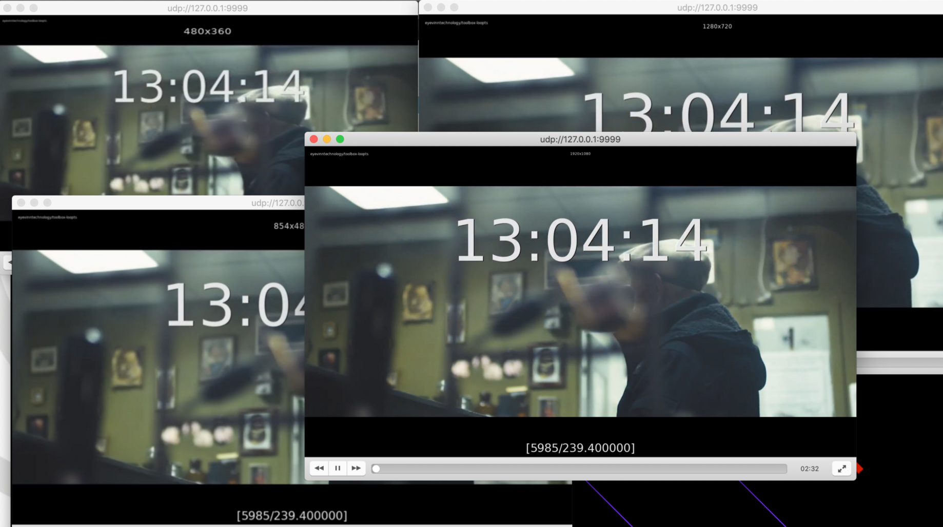 Loop file and generate multiple video bitrates muxed in MPEG-TS with