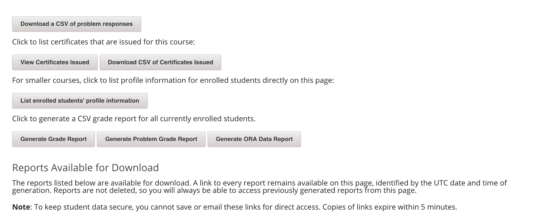 Open edX student grades download issue (404 Not Found)