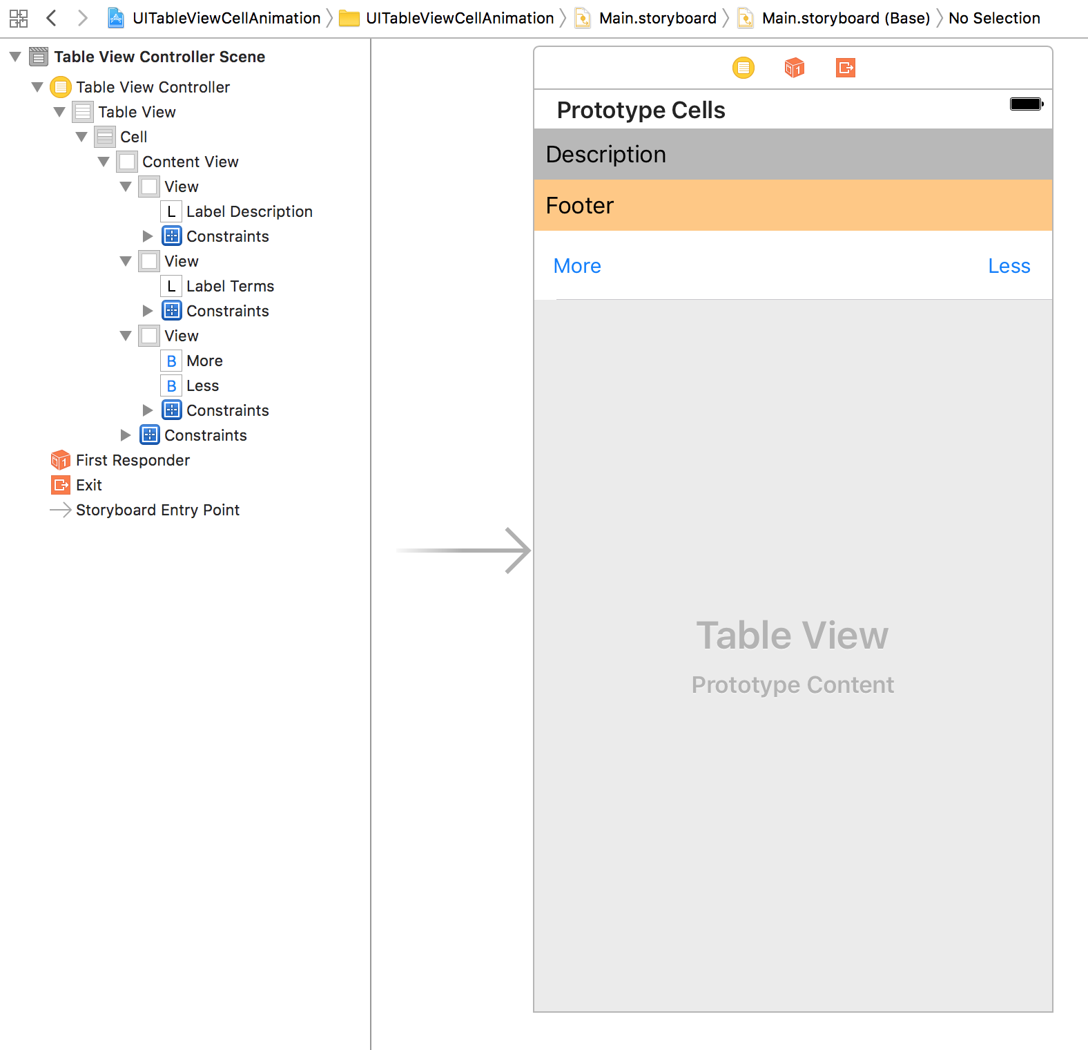 Animating UITableViewCell size and text change using Auto Layout and