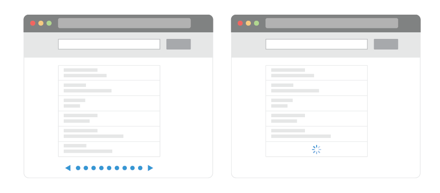 UX: Infinite Scrolling vs  Pagination - UX Planet