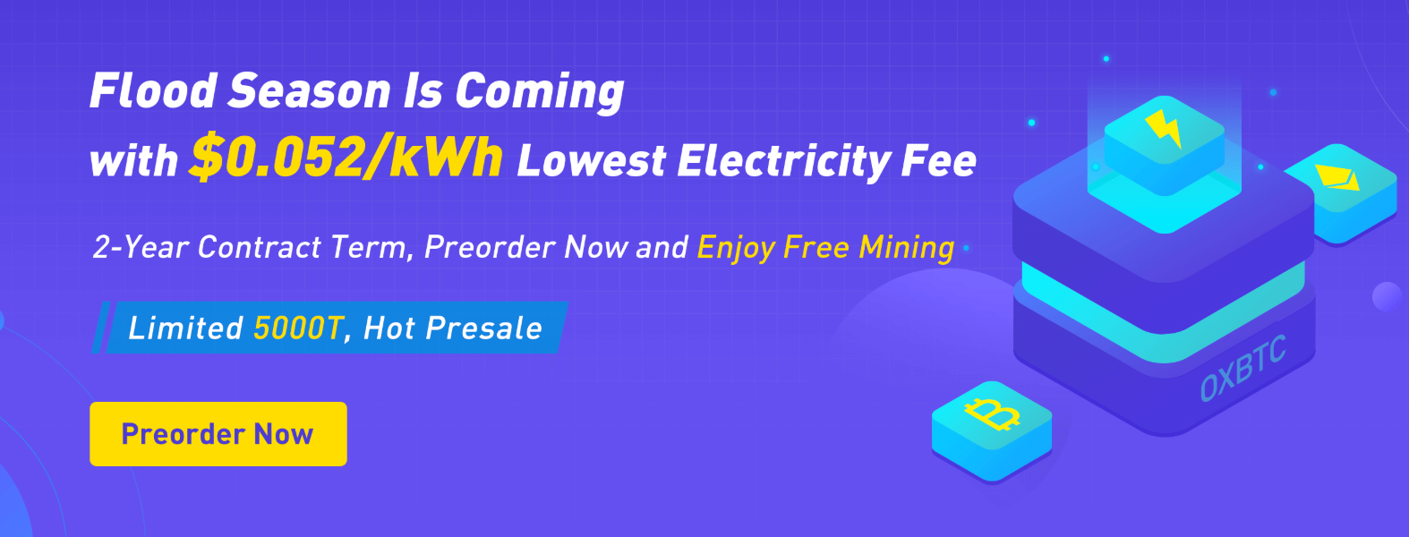 BTC Cloud Mining New Plan with Only $0 052/kWh Electricity Fee and 2