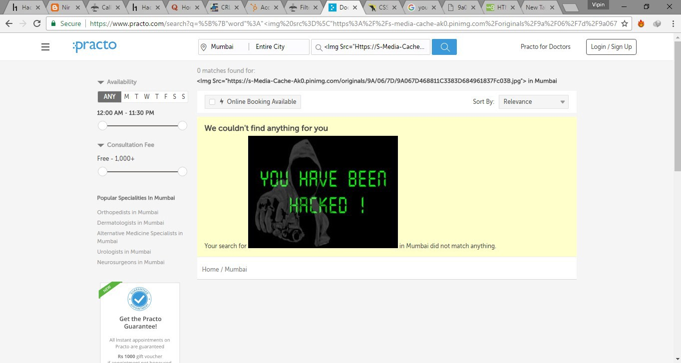 How i bypassed Practo's firewall and triggered a XSS