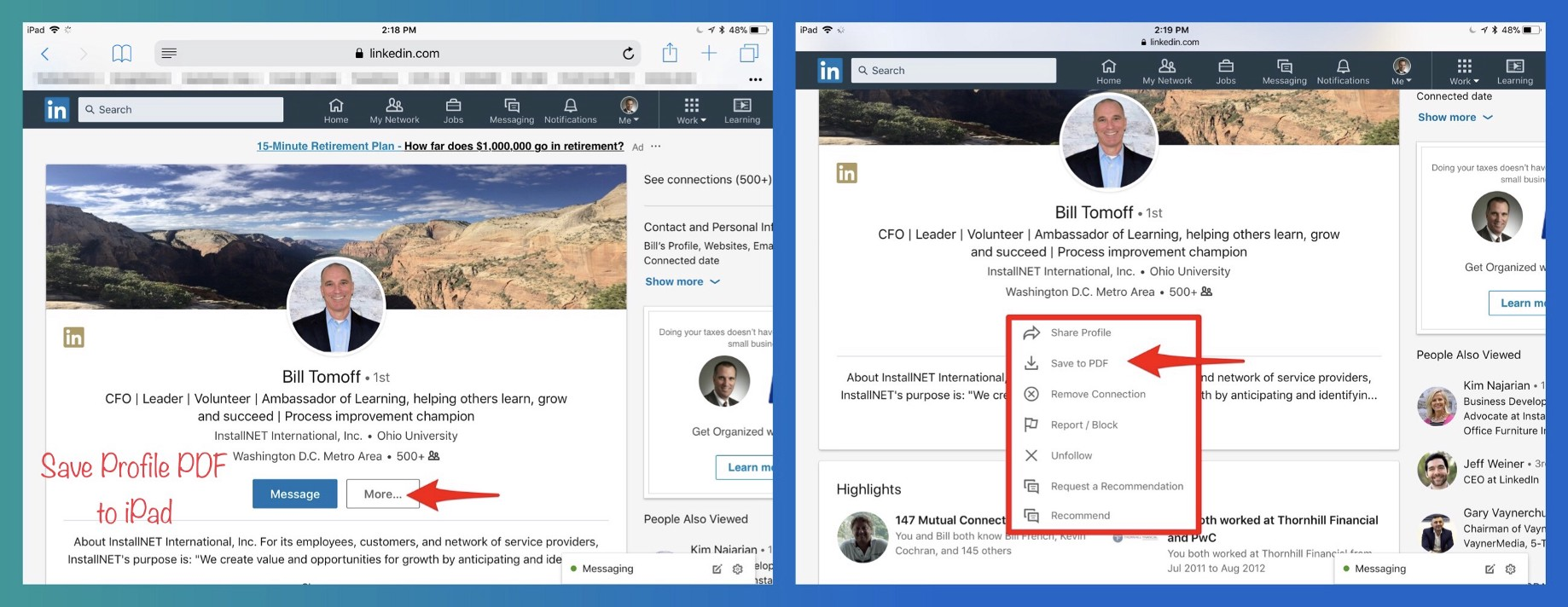 LinkedIn Tip — Download A Profile PDF On Your Mobile Device