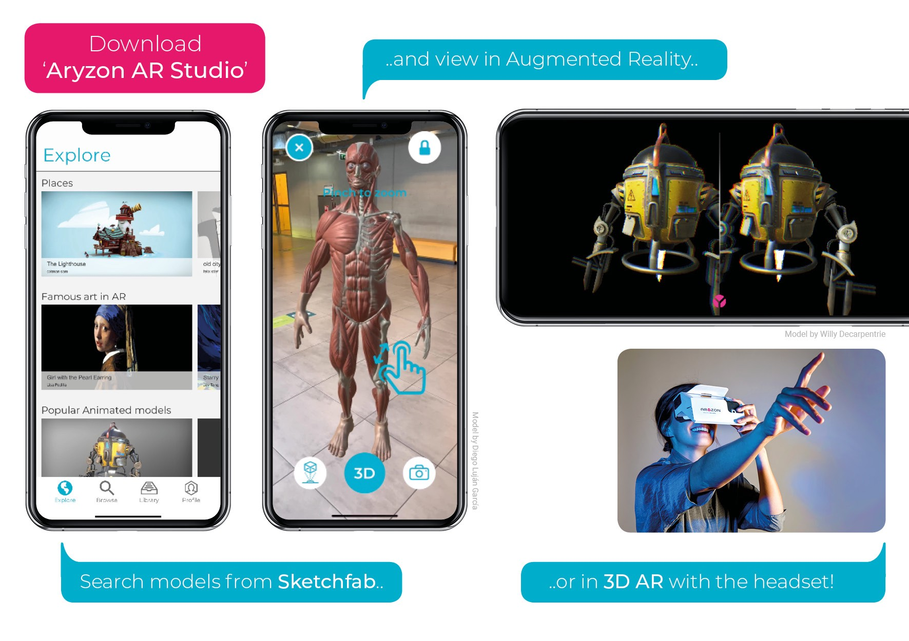 Aryzon AR Studio — import your own 3D models and view them in true