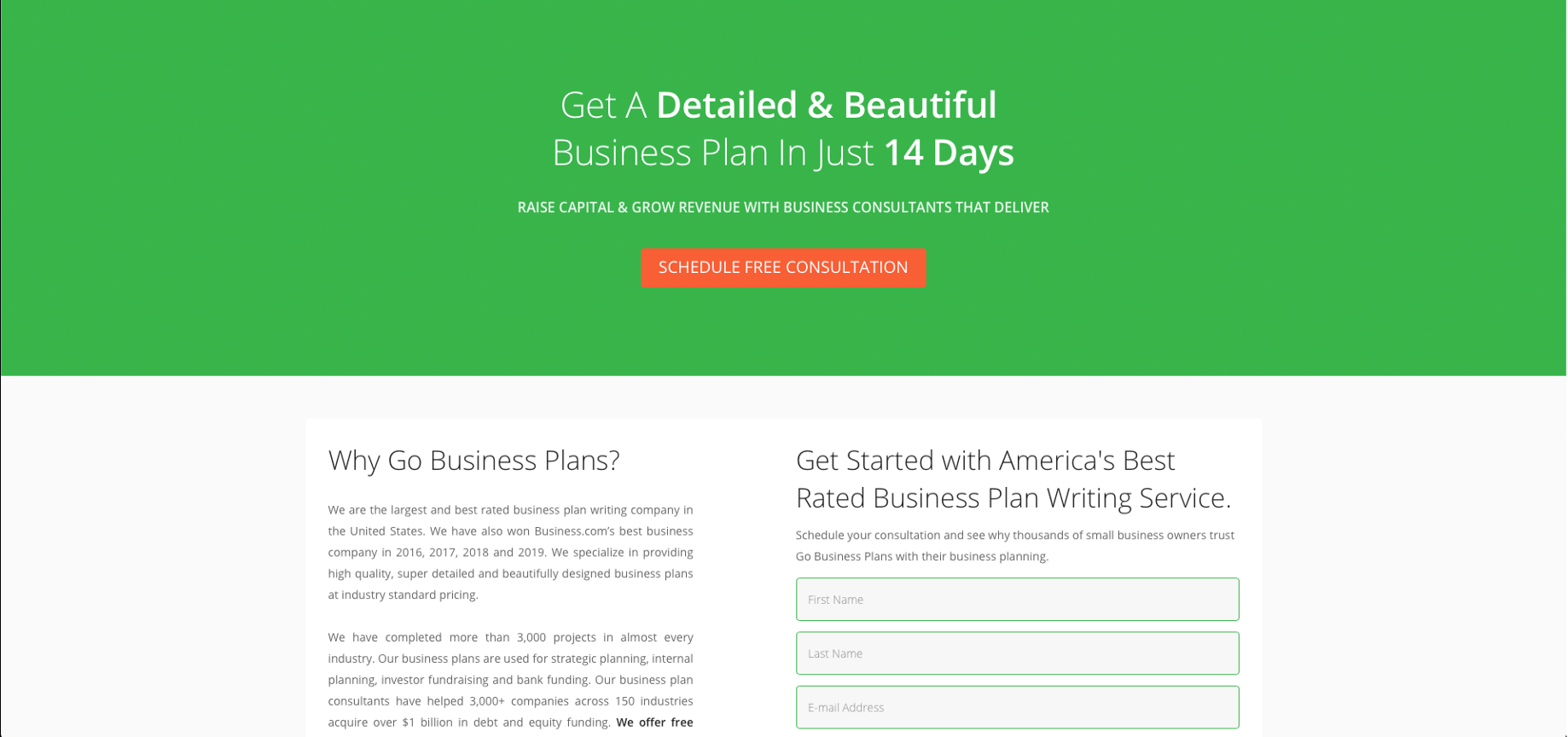 Business plan writing service review