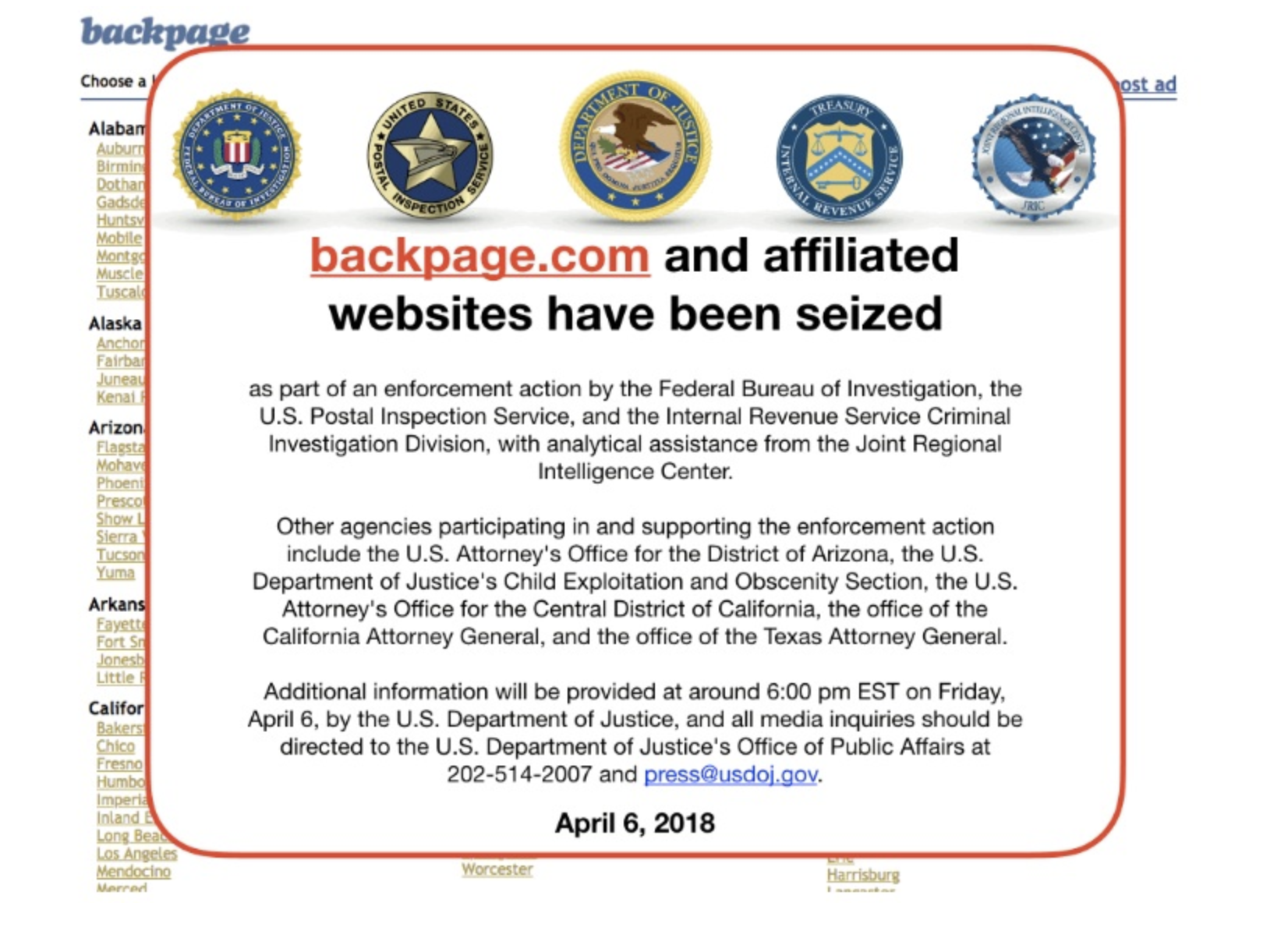 Anti-Backpage Law Not Yet Enacted, But the Crackdown on Sex