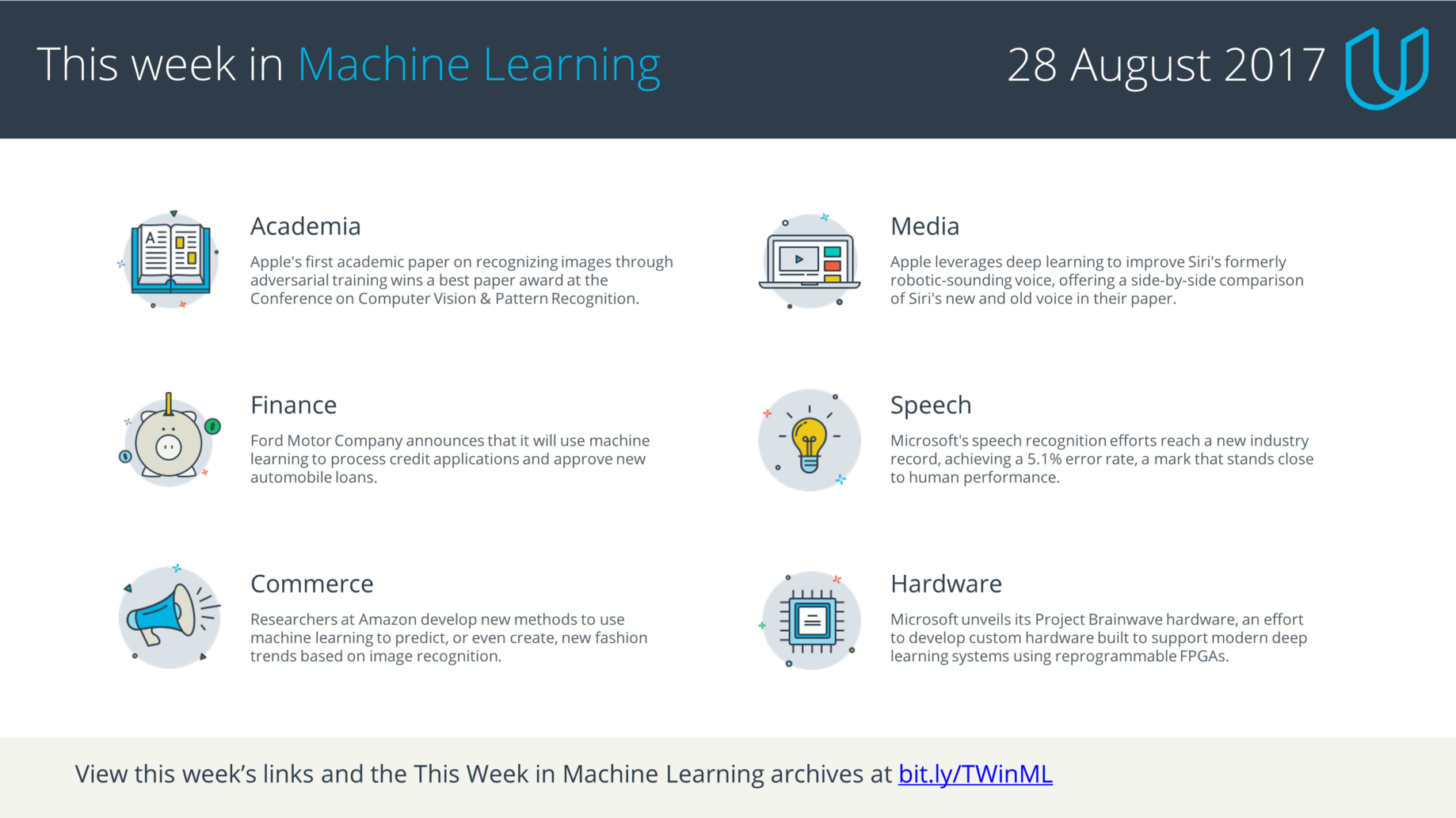 This Week in Machine Learning 28 August 2017 - Udacity Inc