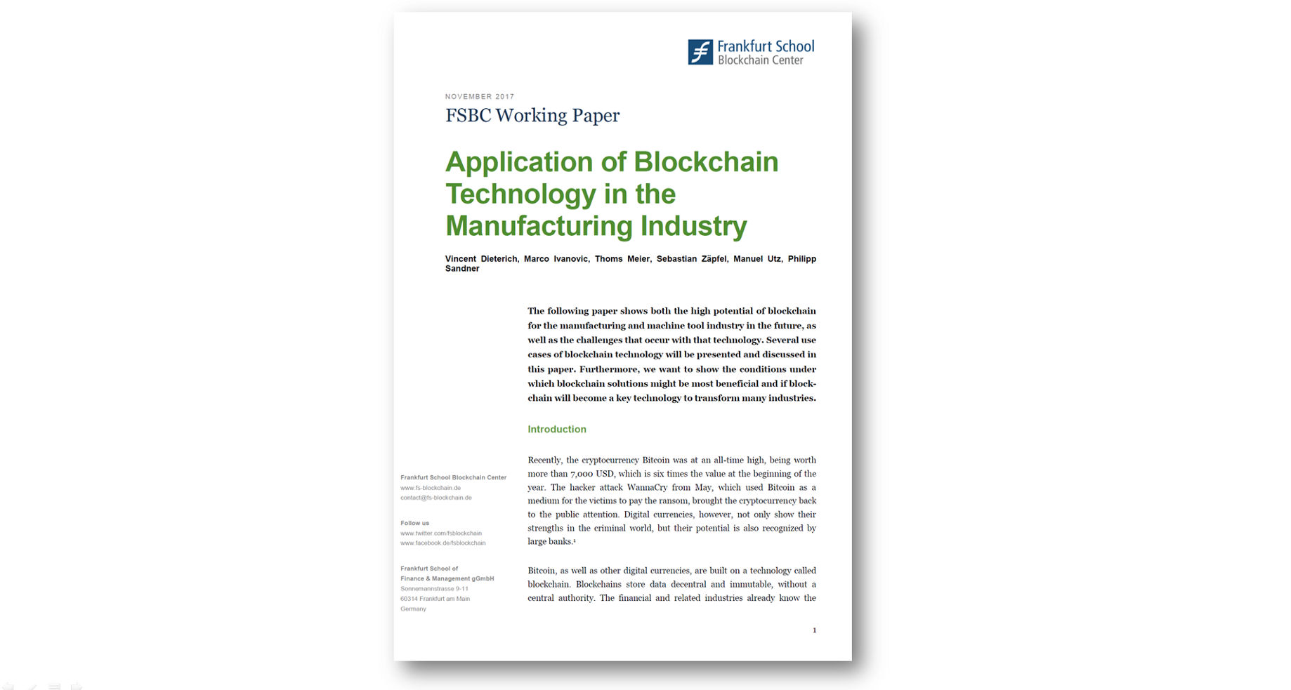 Application of Blockchain Technology in the Manufacturing Industry
