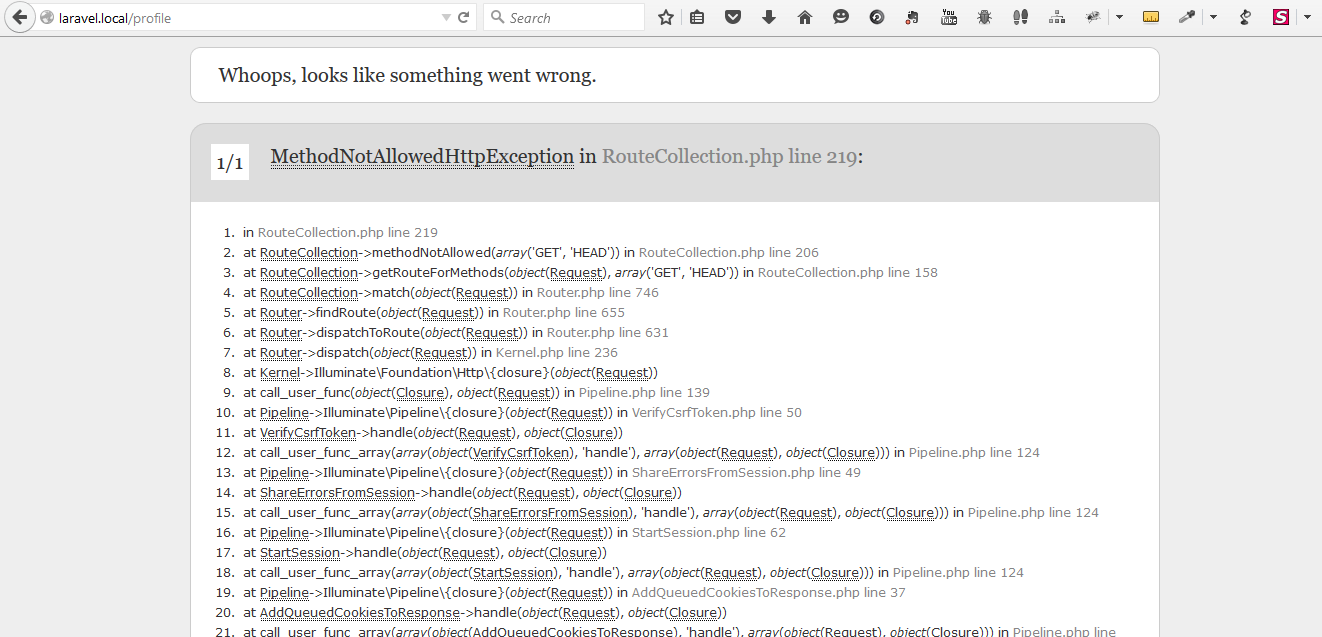 Laravel error : MethodNotAllowedHttpException in RouteCollection php