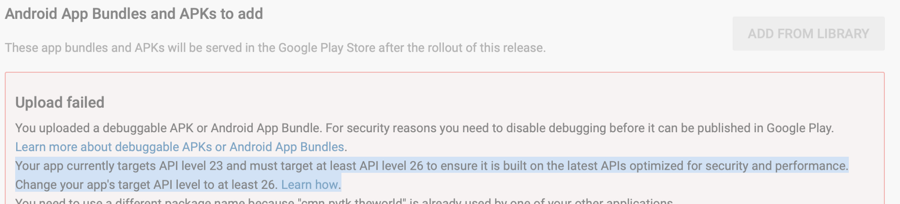 Google Play warning —App must target at least API level 26 to ensure