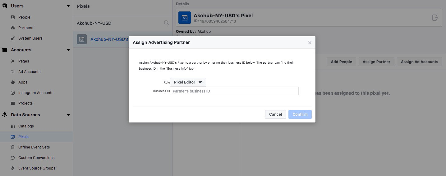 How to share your Facebook Pixel with a business partner?