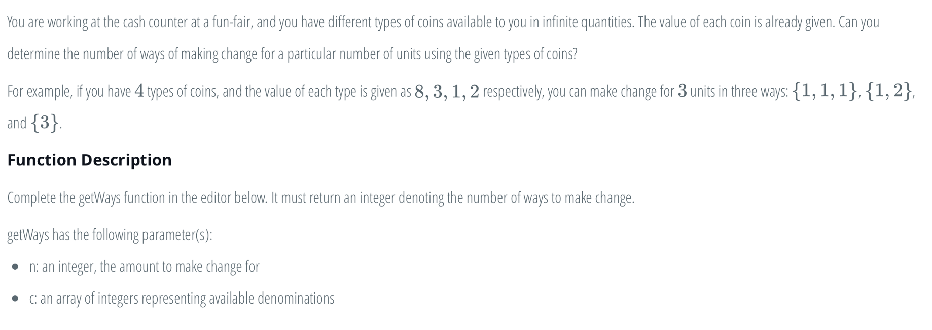 The Coin Change Problem (Memoization and Recursion)