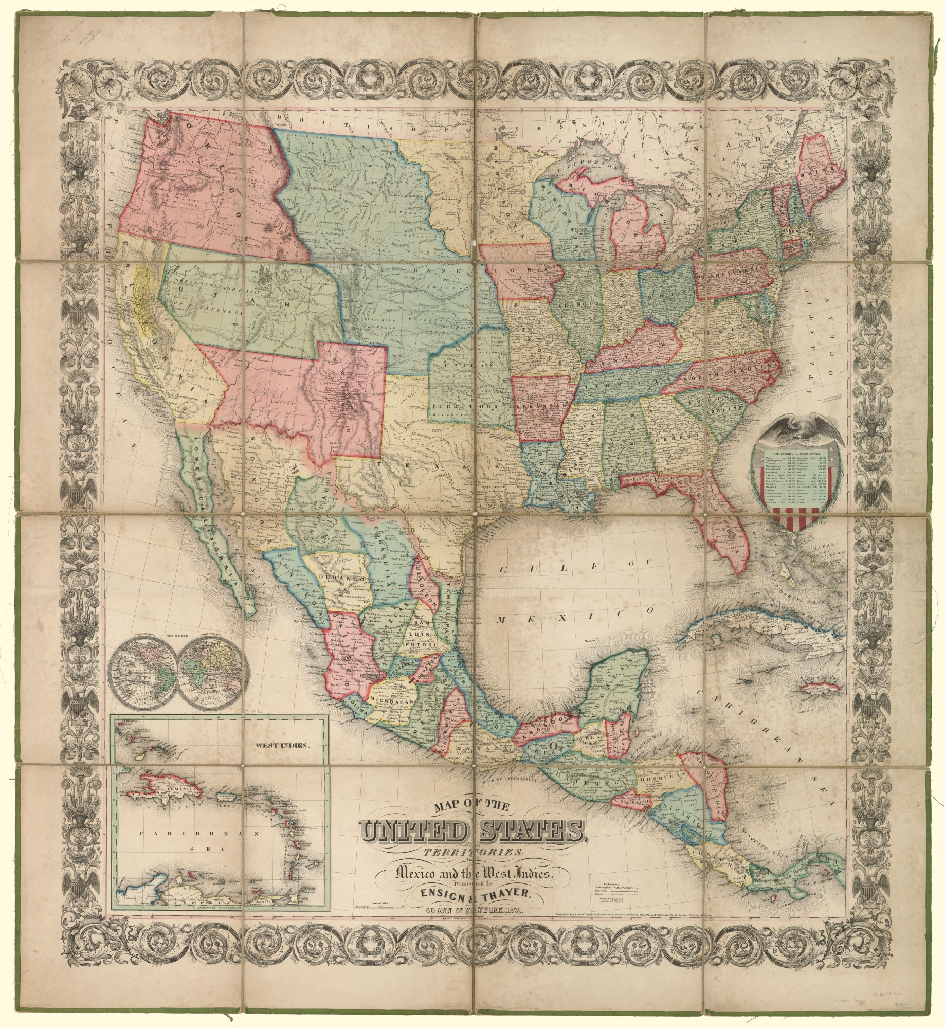 Map of the United States with its territories: also Mexico and the ...
