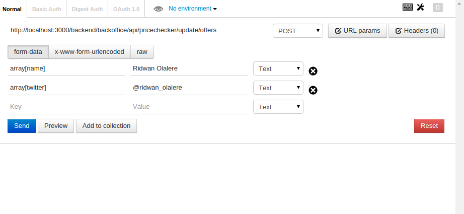 How to send Arrays with GET or POST request in POSTMAN