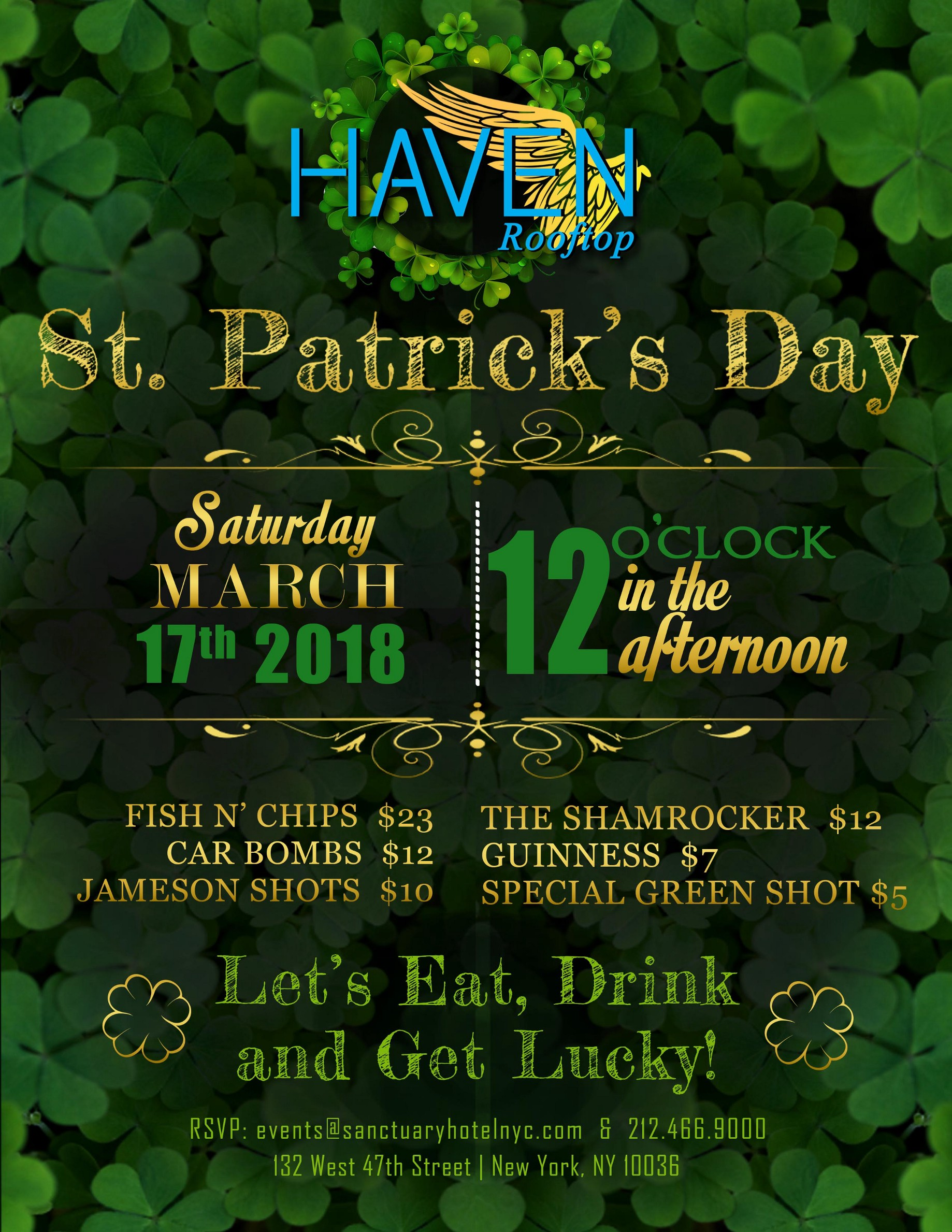 Celebrate St  Patrick's Day at Haven Rooftop in NYC