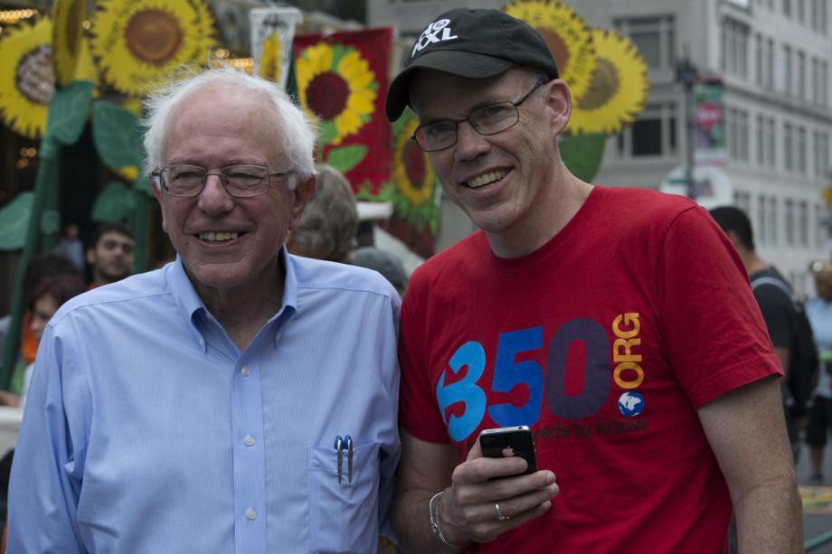Sen. Sanders with Bill McKibben, co-founder of 350.org, at the People's Climate March on Sept. 21, 2014