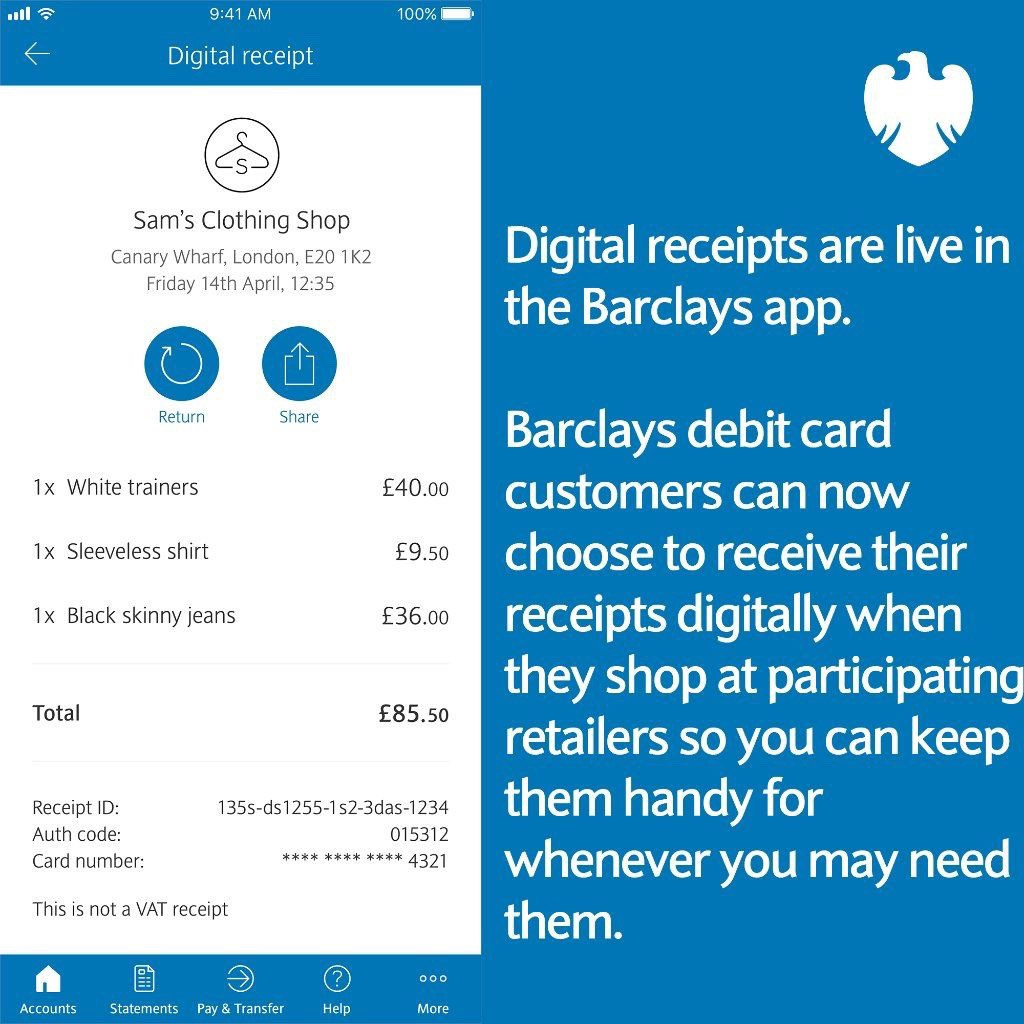 This is an advert for digital receipts feature Barclays have just launched in partnership with Flux