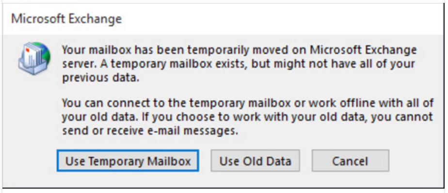 """Microsoft Outlook Error """"mailbox has been temporarily moved on Microsoft Exchange server"""""""