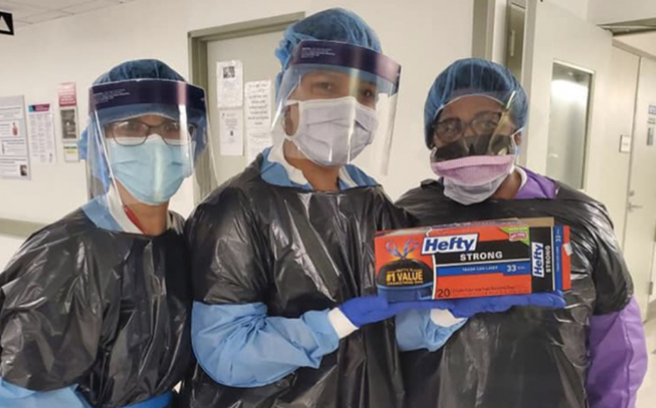 Photo of nurses wearing trash bags due to PPE shortages during the COVID pandemic.
