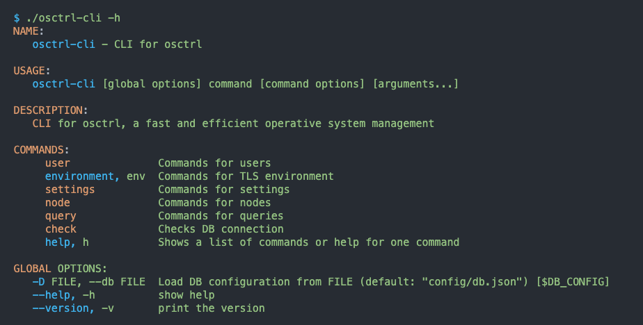 usage of osctrl-cli, the Command Line Interface component of osctrl