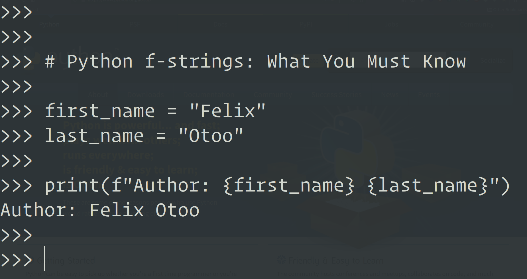 Python f strings What You Must Know   by Felix Otoo   Geek ...