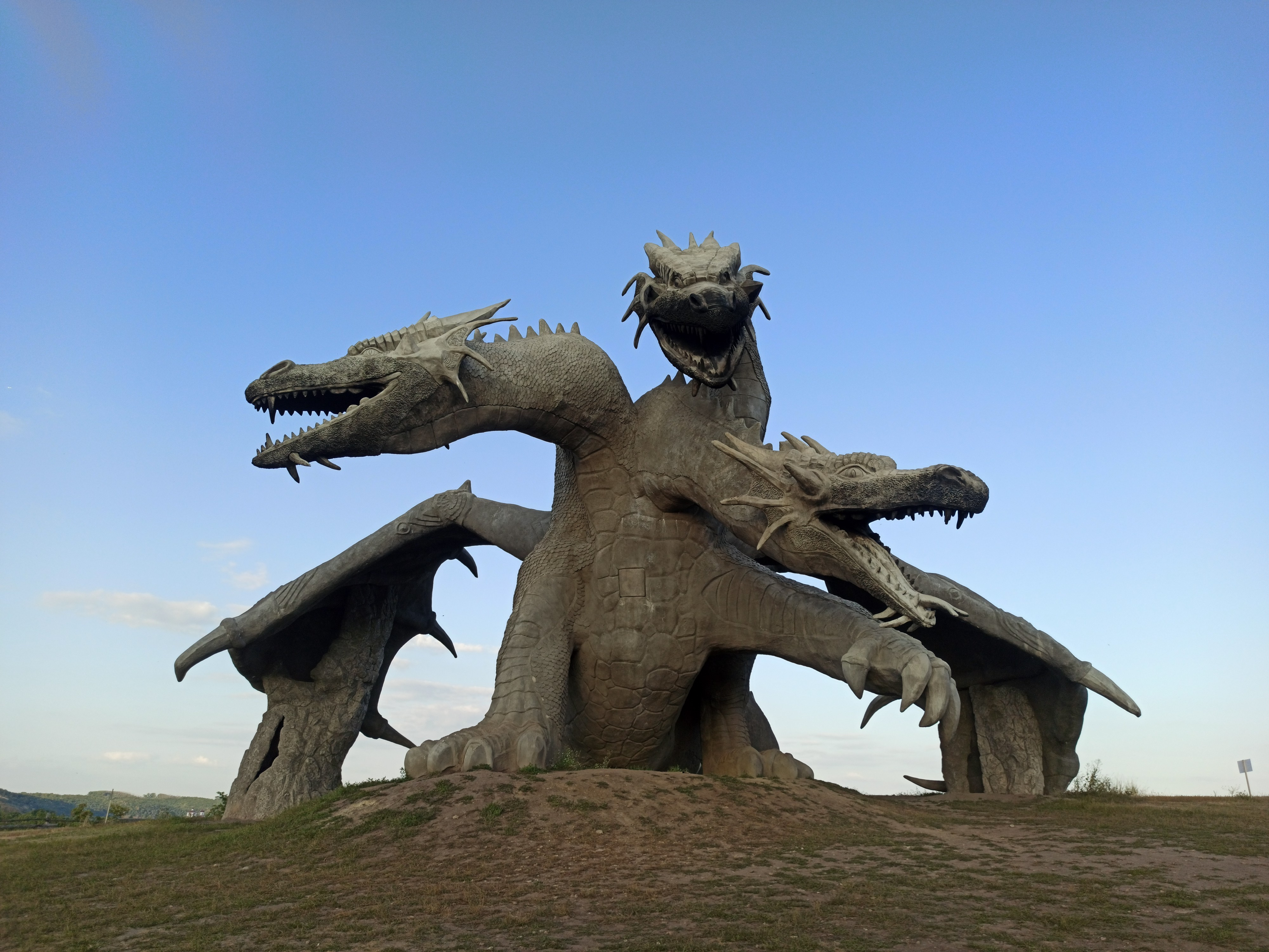 Two-headed dragon sculpture.