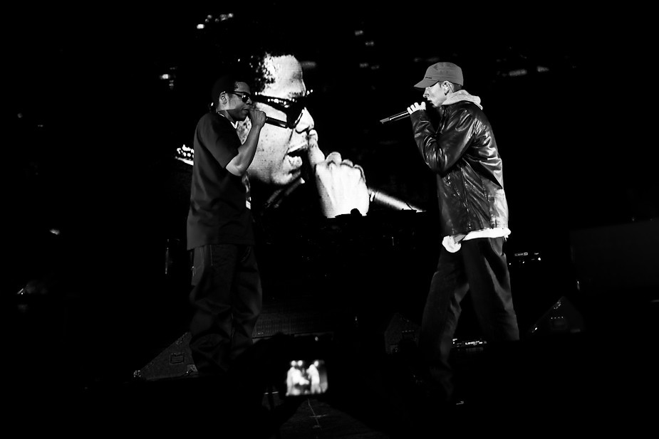 JAY-Z and Eminem on stage.