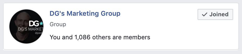 Image of DG Marketing's private Facebook group.