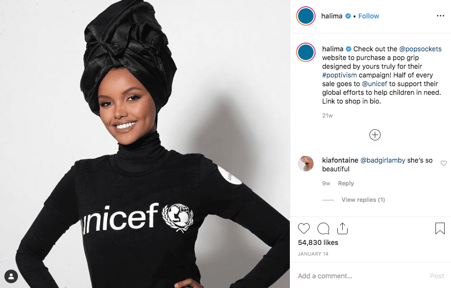 Halima Aden's post which invites people to buy a pop grip from whose sale half goes to Unicef