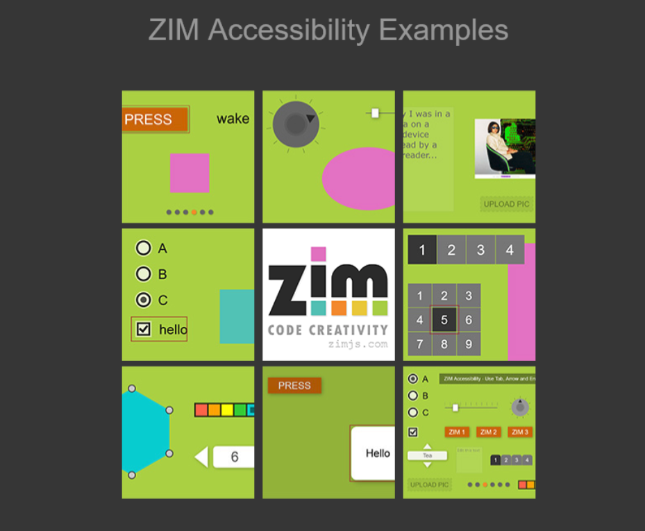 This image shows a grid of accessible examples. Press the link beneath to try out the canvas examples.