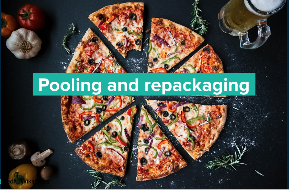 "Pizza with words overlaid that say ""Pooling and repackaging"""